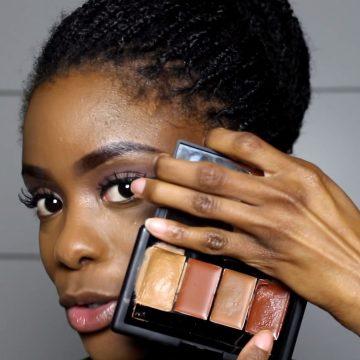 Donkere huid contouren en highlighten